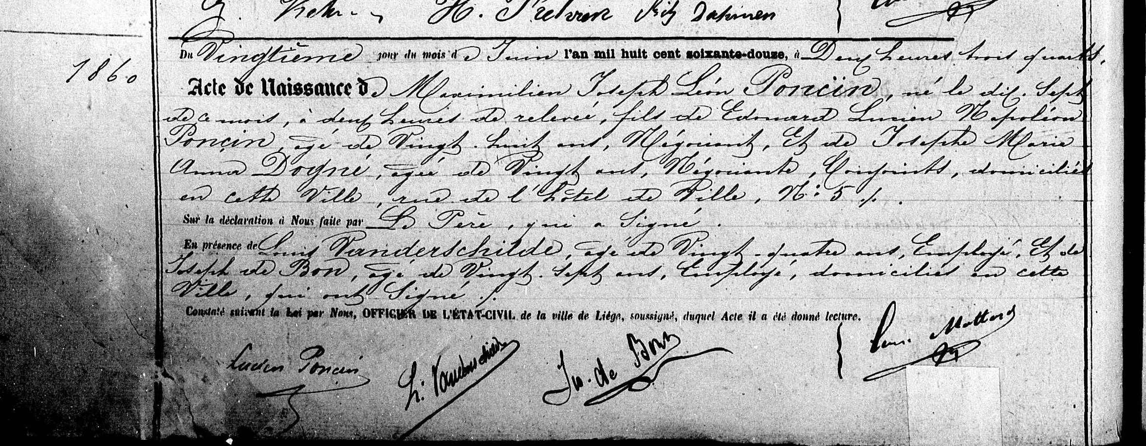 1872 Birth Certificate: Maximilien Poncin