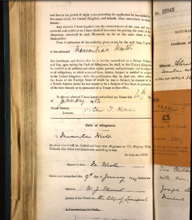 John Weston's application for naturalization