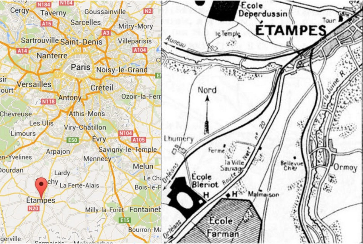 PARIS ETAMPES FLYING SCHOOLS map
